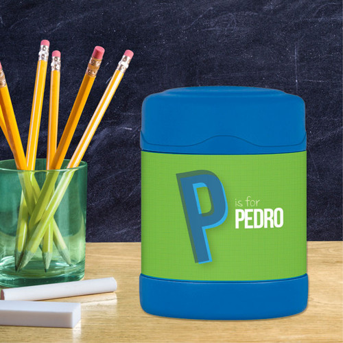 green double initial personalized thermos food jar for kids