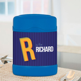 blue double initial personalized thermos food jar for kids