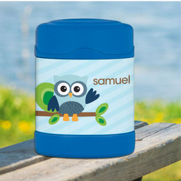 blue owl personalized thermos food jar for kids