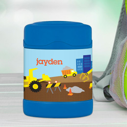 construction site personalized thermos food jar for kids