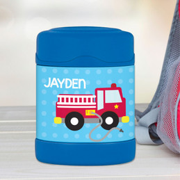 firetruck personalized thermos food jar for kids