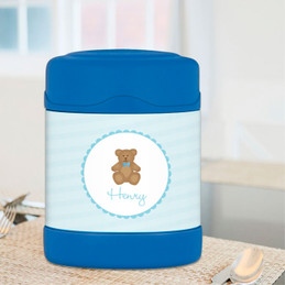 cute blue teddy bear personalized thermos food jar for kids