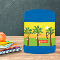 monkeys in the jungle personalized thermos food jar for kids