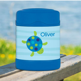 swimming blue turtle personalized thermos food jar for kids
