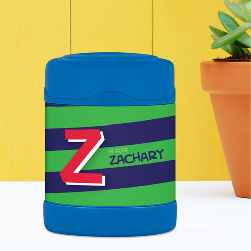 green brilliant initial personalized thermos food jar for kids