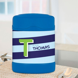 brilliant blue initial personalized thermos food jar for kids