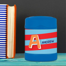 Brilliant red initial personalized thermos food jar for kids
