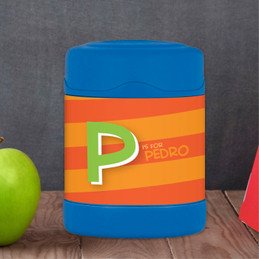orange brilliant initial personalized thermos food jar for kids