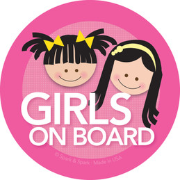 Fun Baby on Board Sign with Black Hair Girls | Spark & Spark