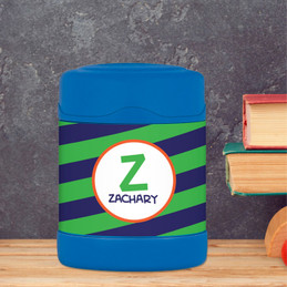 fun green initial personalized thermos food jar for kids