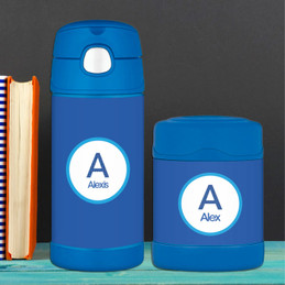 linen blue letter personalized thermos food jar for kids