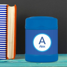 A Linen Blue Letter Thermos Food Jar