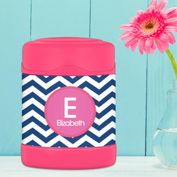 blue and pink chevron personalized thermos food jar for kids