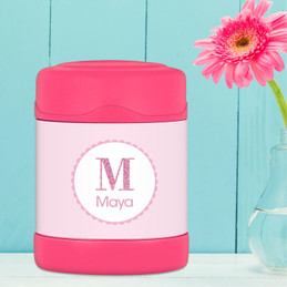 Shiny pink initial personalized thermos food jar for kids