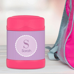 Shiny purple initial personalized thermos food jar for kids
