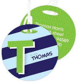 Brilliant Initial - Blue -  Luggage Tags For Kids