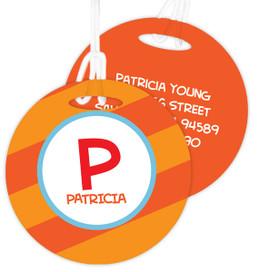 Fun Initials - Orange -  Kids Bag Tags