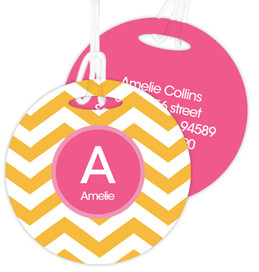 Chevron Mustard & Pink Bag Tag