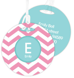Chevron Pink & Aqua Bag Tag