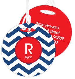 Navy And Red Chevron Kids Luggage Tags