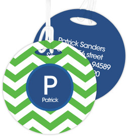 Green And Blue Chevron Luggage Tags For Kids