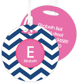 Chevron Blue and Pink Bag Tag
