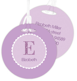 A Shiny Purple Letter Bag Tag