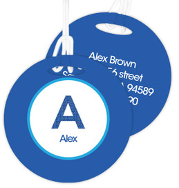 A Linen Blue Letter Kids Bag Tags
