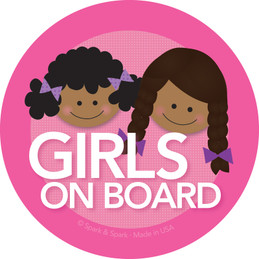 Baby in Car Sticker w African American Girls | Spark & Spark