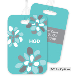 Yellow Stamped Blossoms Bag Tag