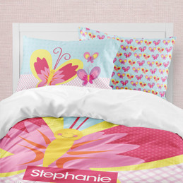 Smiley Butterfly Duvet Cover