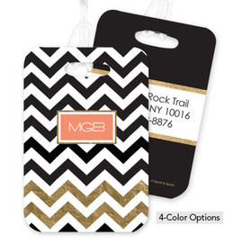 Black Chevron with Gold Foil Bag Tag