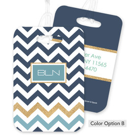 Blue Chevron with Glitter Bag Tag