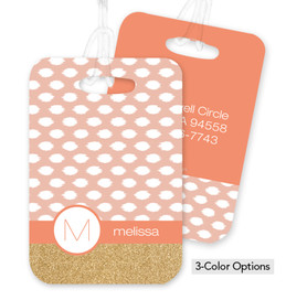 Gold Bar with Pink Spots Bag Tag
