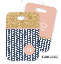 Gold Bar with Blue Triangle Bag Tag