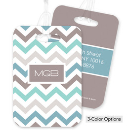 Colorful and Grey Chevrons Bag Tag