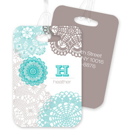 Beautiful Aqua Embroidery Bag Tag