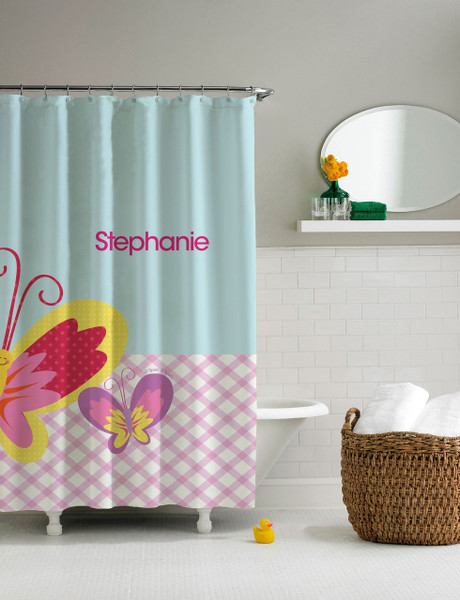 Smiley Butterfly Shower Curtain