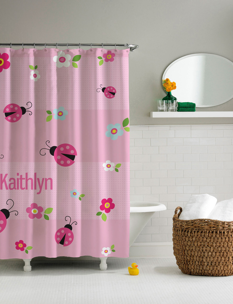 Sweet Pink Lady Bug Shower Curtain