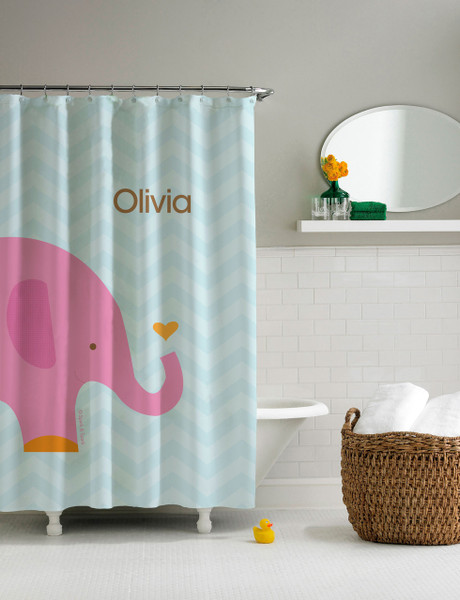 Sweet Pink Elephant Shower Curtain