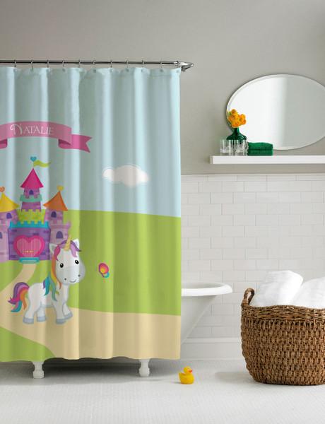 Pretty Heart Castle & Unicorn Shower Curtain