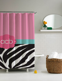Zebra and Pink Shower Curtain
