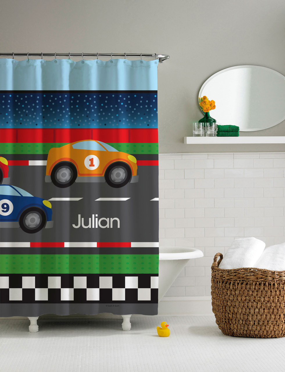 Race to finish shower curtain personalized shower for Race car shower curtain