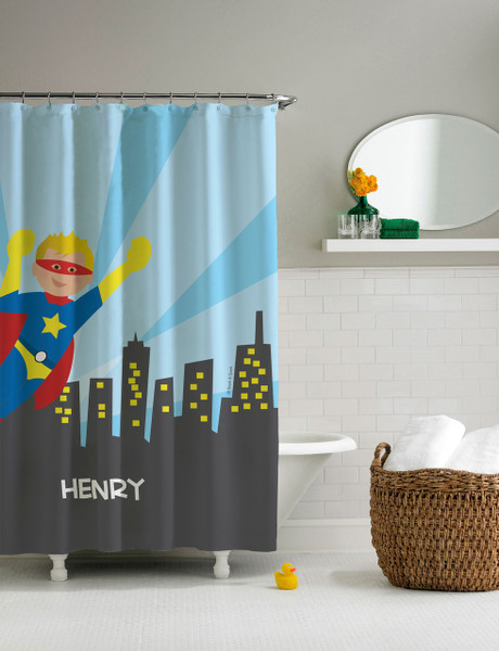 A Cool Superhero Shower Curtain | personalized shower curtain for ...