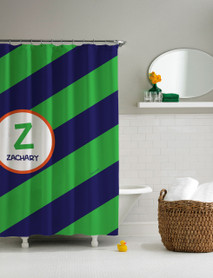Fun initials (green) Shower Curtain