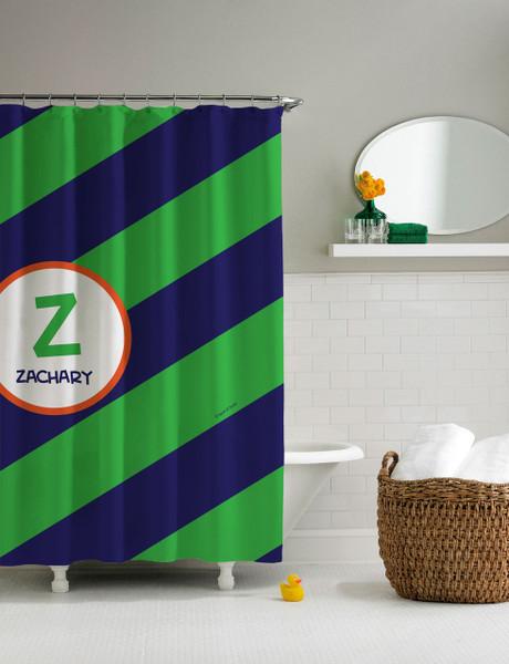 Fun initials (green) Shower Curtain