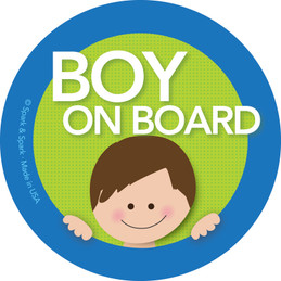 Baby on Board Sticker For Car w Brunette Boy | Spark & Spark