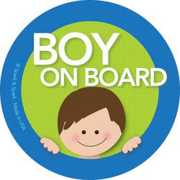 Baby on Board Sticker For Car w Brunette Boy | Spark & Spark