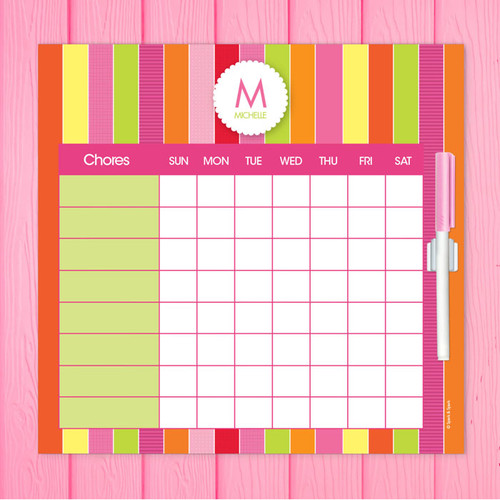 bold fun stripes chore chart for teens
