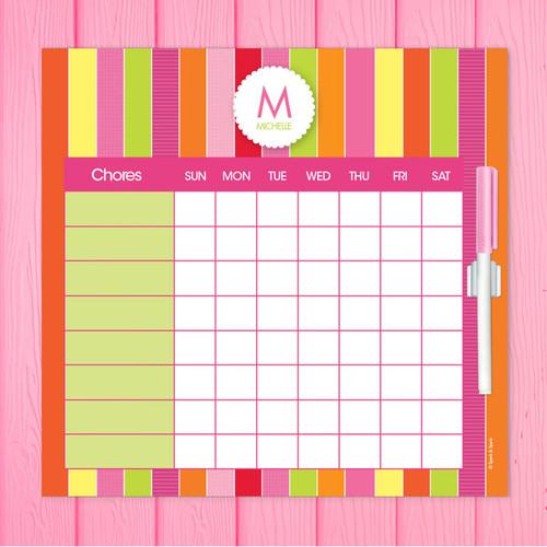 Bold & Fun Stripes Chore Chart For Teens